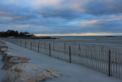 cloudy beach in cohasset, ma
